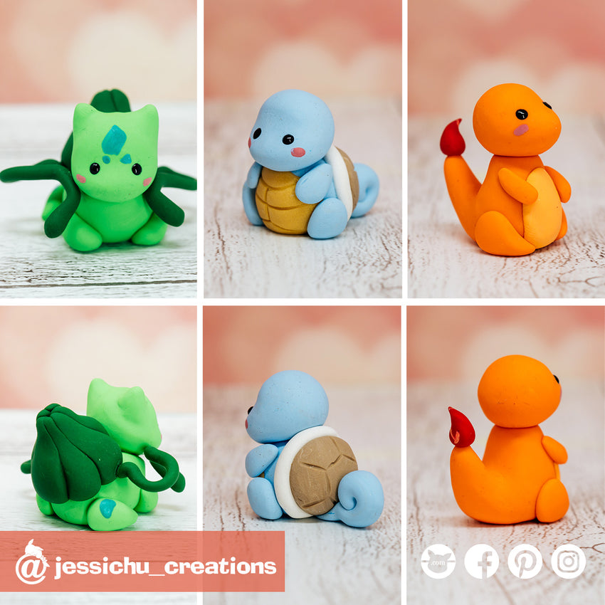 Pokemon Original Starters | Bulbasaur Squirtle Charmander | Custom Handmade Wedding Cake Topper Figurines | Jessichu Creations