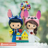 Stitch & Angel with UP accessories | Disney x Mario | Custom Handmade Wedding Cake Topper Figurines | Jessichu Creations