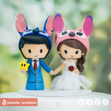 Stitch & Angel | Disney x Mario | Custom Handmade Wedding Cake Topper Figurines | Jessichu Creations