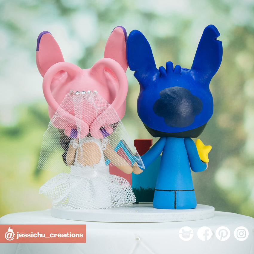 Stitch Groom & Angel Bride with UP accessories Inspired Disney x Mario Custom Handmade Wedding Cake Topper | Wedding Cake Toppers | Cake Topper Gallery | Jessichu Creations