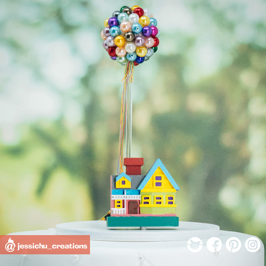 UP House and UP Balloons | Disney x Pixar | Custom Handmade Wedding Cake Topper Figurines | Jessichu Creations