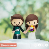 Philadelphia Eagles & HP Gryffindor | Custom Handmade Wedding Cake Topper Figurines | Jessichu Creations