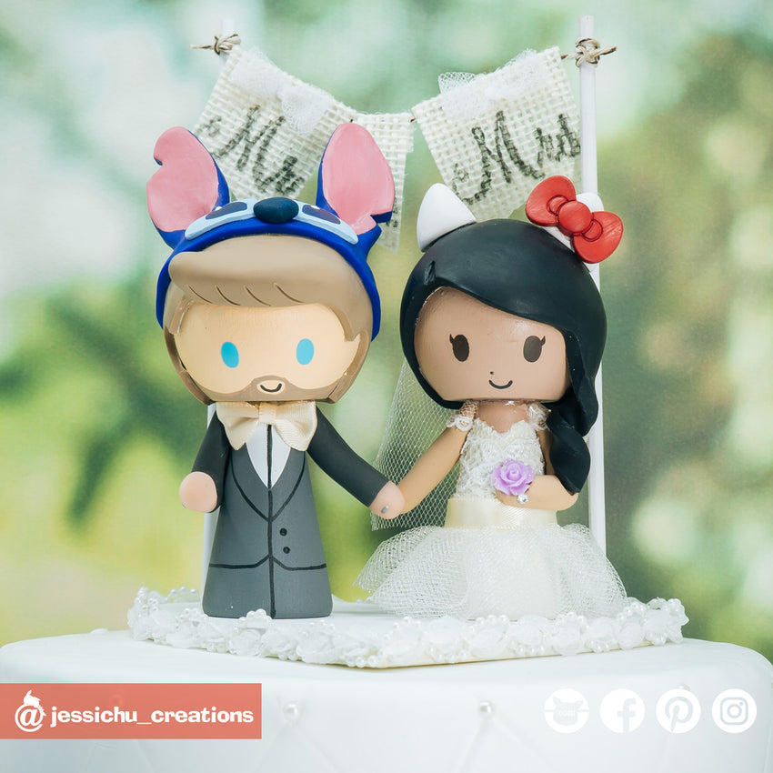 Stitch & Hello Kitty | Disney x Sanrio | Custom Handmade Wedding Cake Topper Figurines | Jessichu Creations