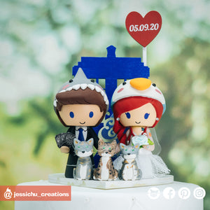 Shark & Penguin with Tardis | Custom Handmade Wedding Cake Topper Figurines | Jessichu Creations