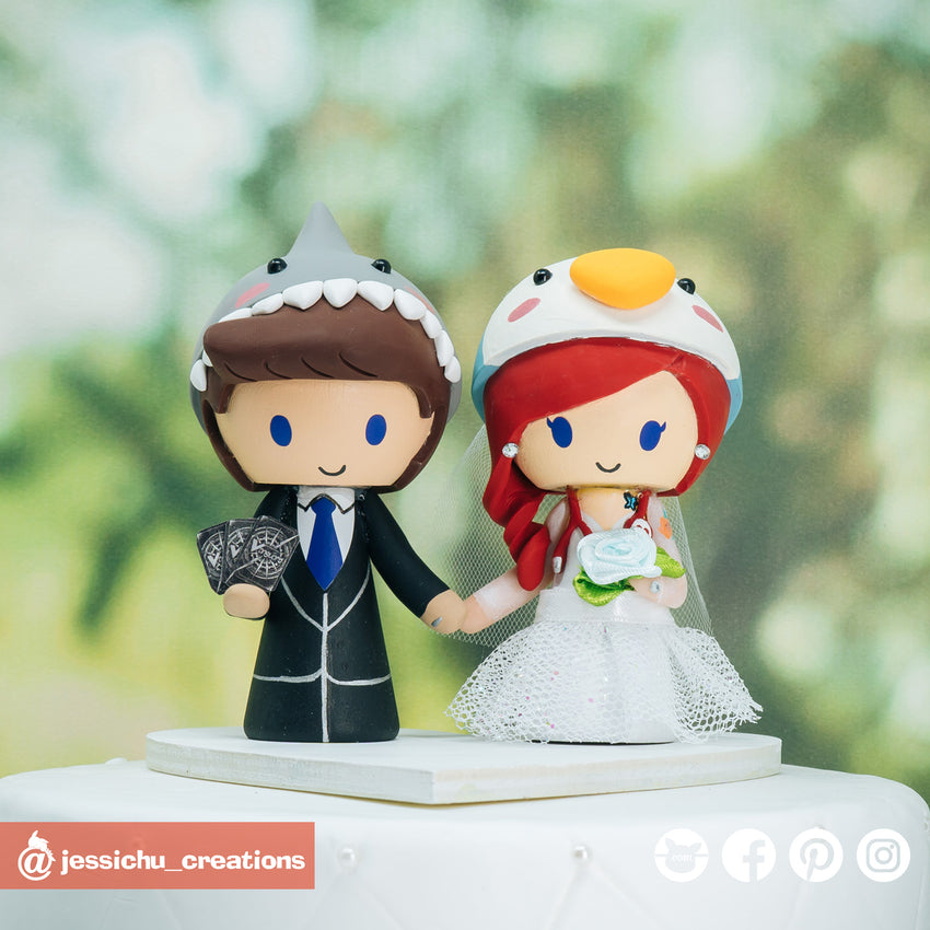 Shark & Penguin | Custom Handmade Wedding Cake Topper Figurines | Jessichu Creations