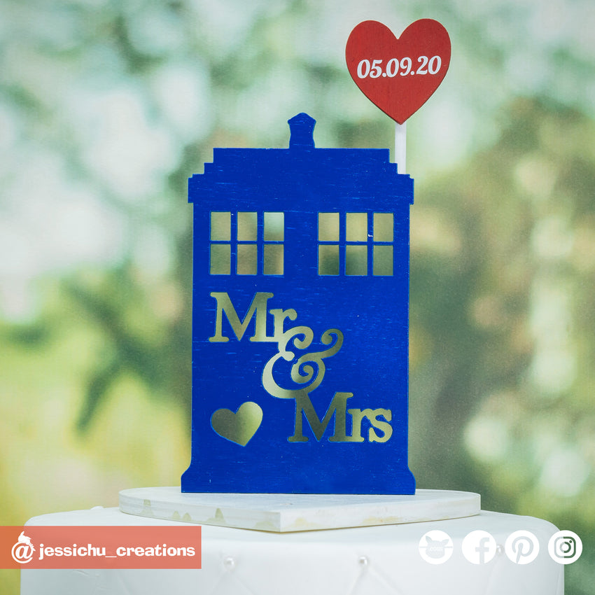 Tardis and Heart Sign | Signs | Custom Handmade Wedding Cake Topper Figurines | Jessichu Creations