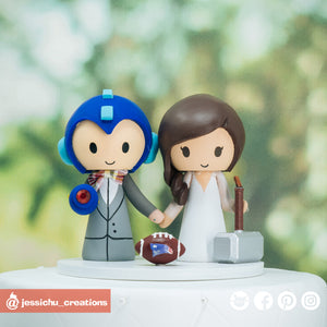 Megaman & Thor | Custom Handmade Wedding Cake Topper Figurines | Jessichu Creations