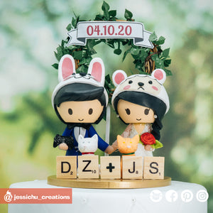 Rabbit Groom & Sheep Bride | Custom Handmade Wedding Cake Topper Figurines | Jessichu Creations
