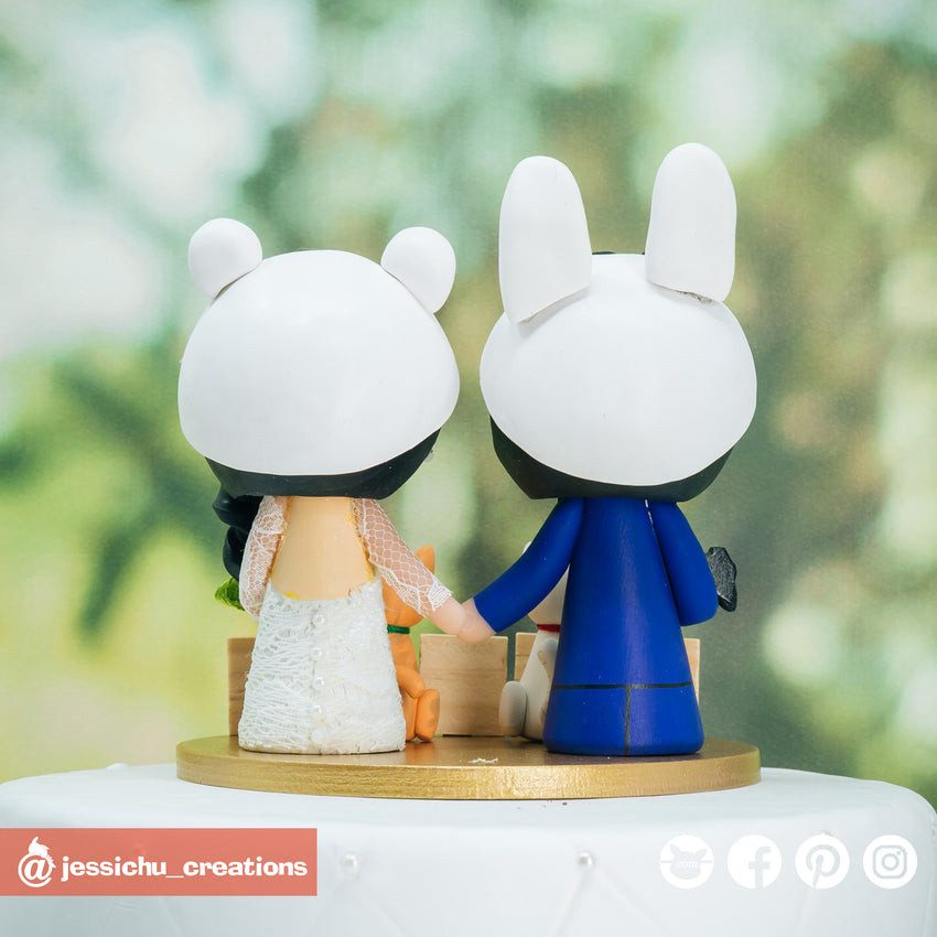 Rabbit Groom & Sheep Bride Custom Made Figurine Wedding Cake Topper | Wedding Cake Toppers | Cake Topper Gallery | Jessichu Creations