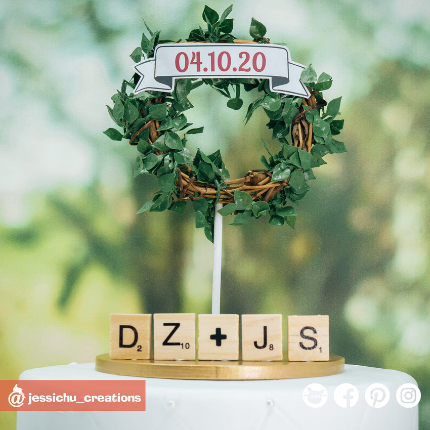 Mini Wreath & Scrabble Sign | Signs | Custom Handmade Wedding Cake Topper Figurines | Jessichu Creations