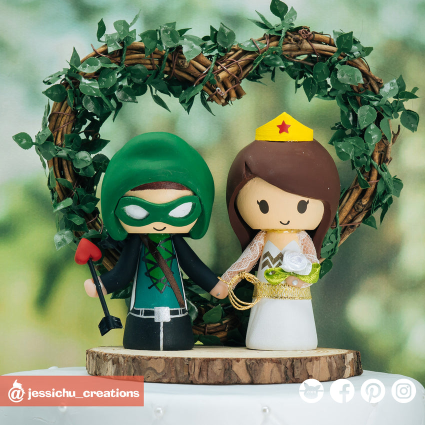 Green Arrow & Wonder Woman | DC | Custom Handmade Wedding Cake Topper Figurines | Jessichu Creations