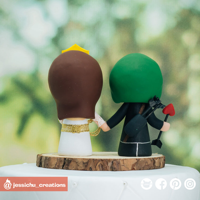 Green Arrow Groom & Wonder Woman Bride Inspired DC Wedding Cake Topper | Wedding Cake Toppers | Cake Topper Gallery | Jessichu Creations