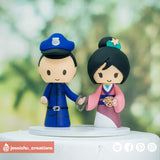 Police & Disney Mulan | Custom Handmade Wedding Cake Topper Figurines | Jessichu Creations