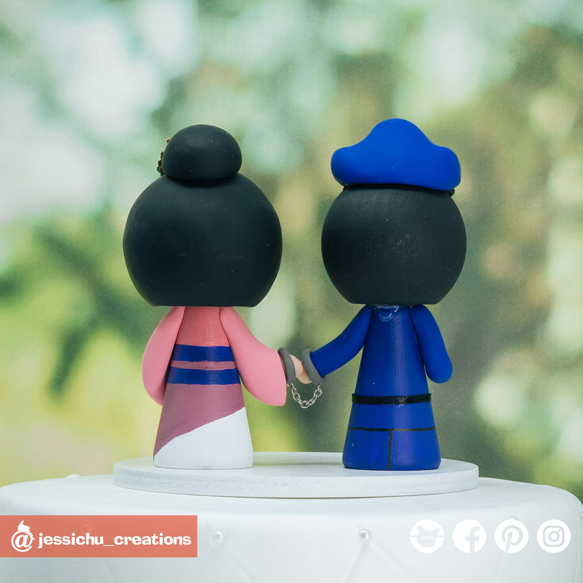 Police Groom & Disney Mulan Bride Custom Handmade Figurine Wedding Cake Topper | Wedding Cake Toppers | Cake Topper Gallery | Jessichu Creations