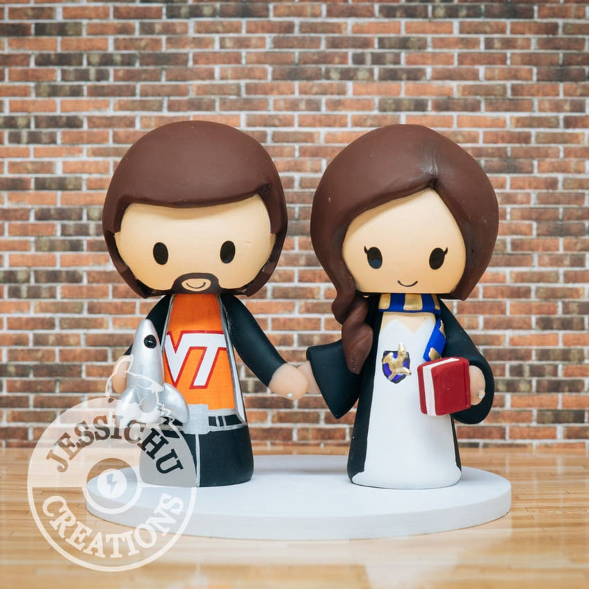 Virginia Tech and Harry Potter Wedding Cake Topper | College Fan x HP | Jessichu Creations