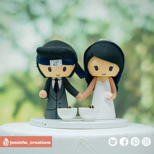 Naruto Bride and Groom with Ramen | Custom Handmade Wedding Cake Topper Figurines | Jessichu Creations
