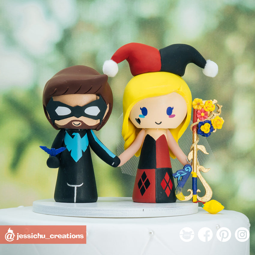 Nightwing & Harley Quinn | DC Comics | Custom Handmade Wedding Cake Topper Figurines | Jessichu Creations