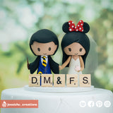 Harry Potter Hufflepuff & Minnie Mouse | Disney x HP | Custom Handmade Wedding Cake Topper Figurines | Jessichu Creations
