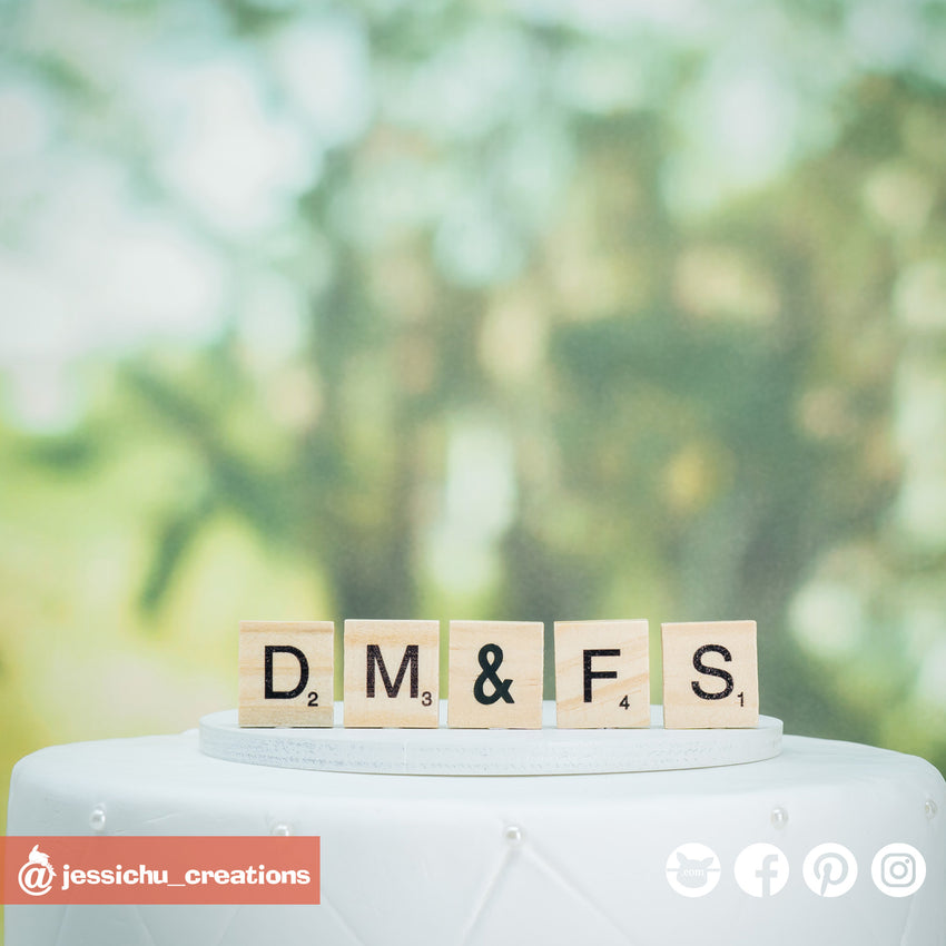 Scrabble Sign | Signs | Custom Handmade Wedding Cake Topper Figurines | Jessichu Creations