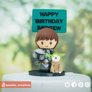 Mandalorian & Baby Yoda | Star Wars | Custom Handmade Birthday Cake Topper Figurines | Jessichu Creations