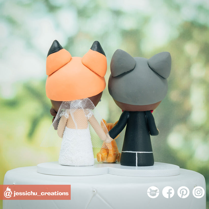 Wolf Groom & Fox Bride Custom Handmade Wedding Cake Topper Figurines | Wedding Cake Toppers | Cake Topper Gallery | Jessichu Creations
