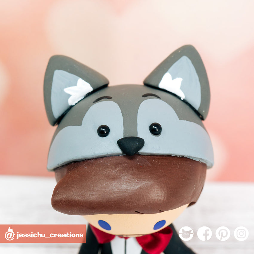 Wolf | Custom Handmade Wedding Cake Topper Figurines | Jessichu Creations
