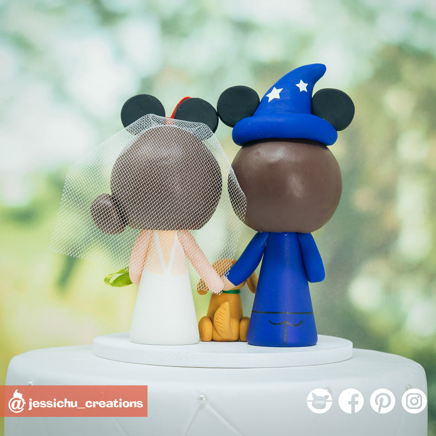 Wizard Mickey Groom & Minnie Mouse Bride - Disney Inspired Custom Handmade Wedding Cake Topper | Wedding Cake Toppers | Cake Topper Gallery | Jessichu Creations