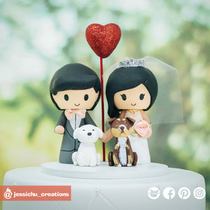 Cute Bride & Groom with Pet Dogs | Custom Handmade Wedding Cake Topper Figurines | Jessichu Creations