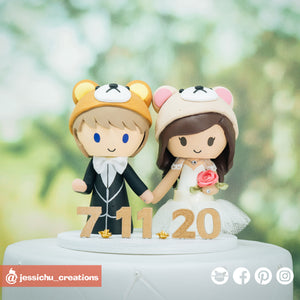 Rilakkuma & Kaoru | Sanrio | Custom Handmade Wedding Cake Topper Figurines | Jessichu Creations