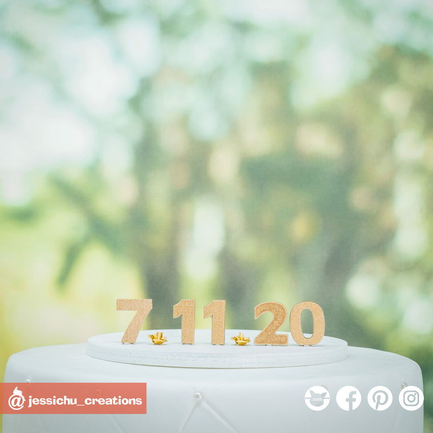 Wooden Date | Signs | Custom Handmade Wedding Cake Topper Figurines | Jessichu Creations