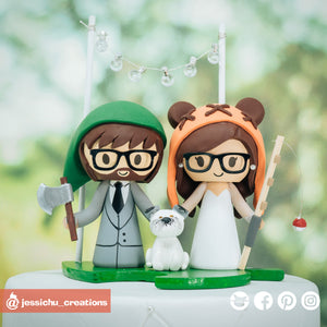 Link & Ewok | Zelda x Star Wars x Animal Crossing | Custom Handmade Wedding Cake Topper Figurines | Jessichu Creations
