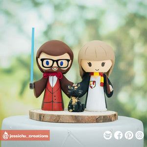 Jedi and HP Gryffindor Witch | Star Wars x Harry Potter | Custom Handmade Wedding Cake Topper Figurines | Jessichu Creations