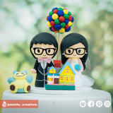 Cute Couple with Snorlax & UP House & Balloons Disney x Pixar x Pokemon| Custom Handmade Wedding Cake Topper Figurines | Jessichu Creations