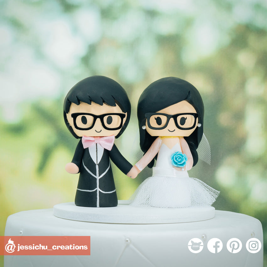 Cute Couple | Custom Handmade Wedding Cake Topper Figurines | Jessichu Creations