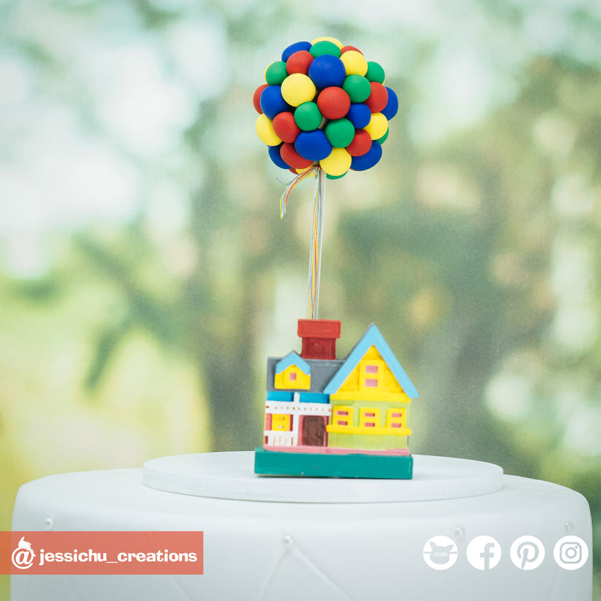 UP House & Balloons | Disney x Pixar | Custom Handmade Wedding Cake Topper Figurines | Jessichu Creations