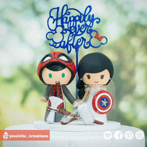 Spiderman & Captain America | Marvel | Custom Handmade Wedding Cake Topper Figurines | Jessichu Creations