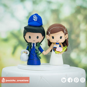 Hawaiian Sports & Elven | SD Padres x LoTR x HP | Custom Handmade Wedding Cake Topper Figurines | Jessichu Creations