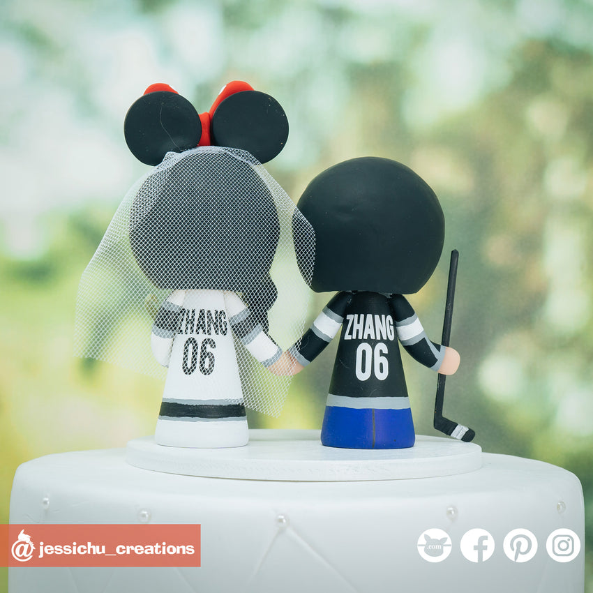 LA Kings Bride and Groom Sports Fan Inspired Wedding Cake Topper | Wedding Cake Toppers | Cake Topper Gallery | Jessichu Creations