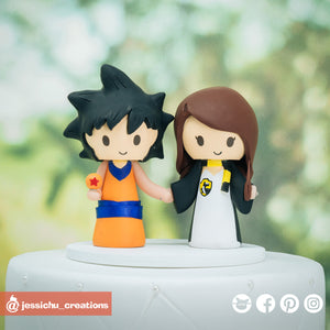 Goku & HP Hufflepuff  | Dragon Ball Z x Harry Potter| Custom Handmade Wedding Cake Topper Figurines | Jessichu Creations