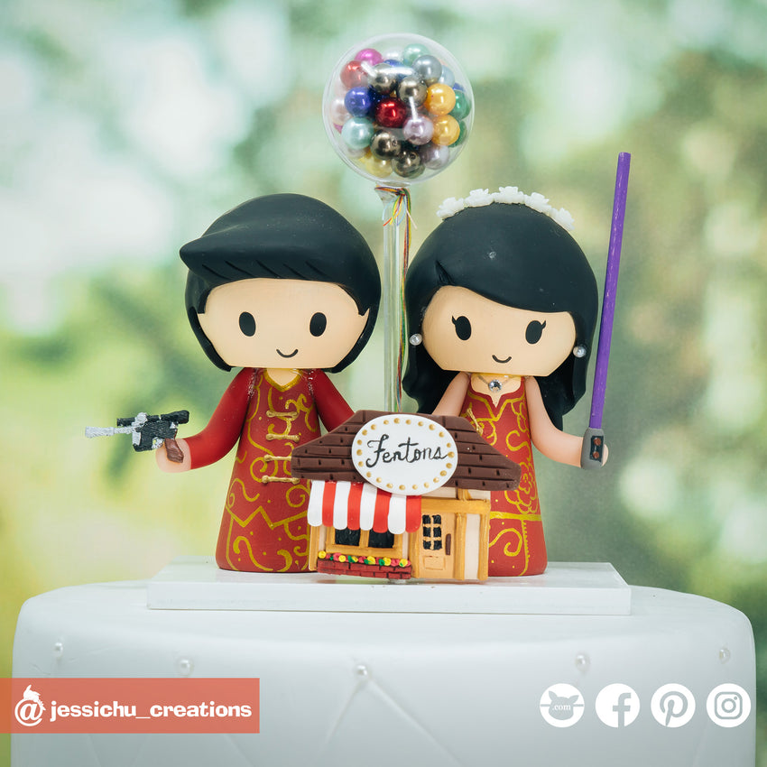 Chinese Bride and Groom with UP Fenton's Ice Cream | Disney x Pixar x Star Wars | Custom Handmade Wedding Cake Topper Figurines | Jessichu Creations