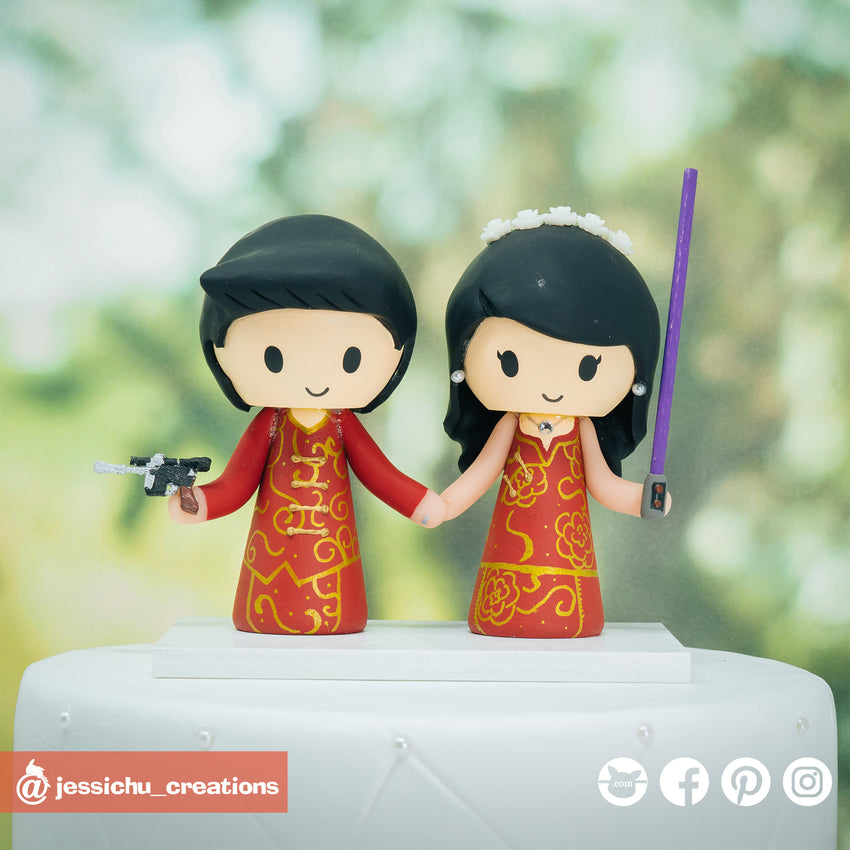Chinese Bride and Groom | Disney x Star Wars | Custom Handmade Wedding Cake Topper Figurines | Jessichu Creations