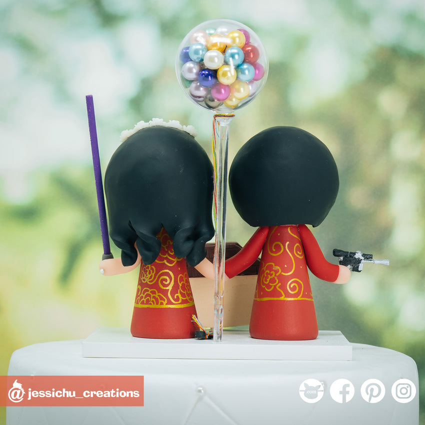 Chinese Bride and Groom with UP Fenton's Ice Cream Inspired Disney x Pixar x Star Wars Custom Handmade Wedding Cake Topper | Wedding Cake Toppers | Cake Topper Gallery | Jessichu Creations