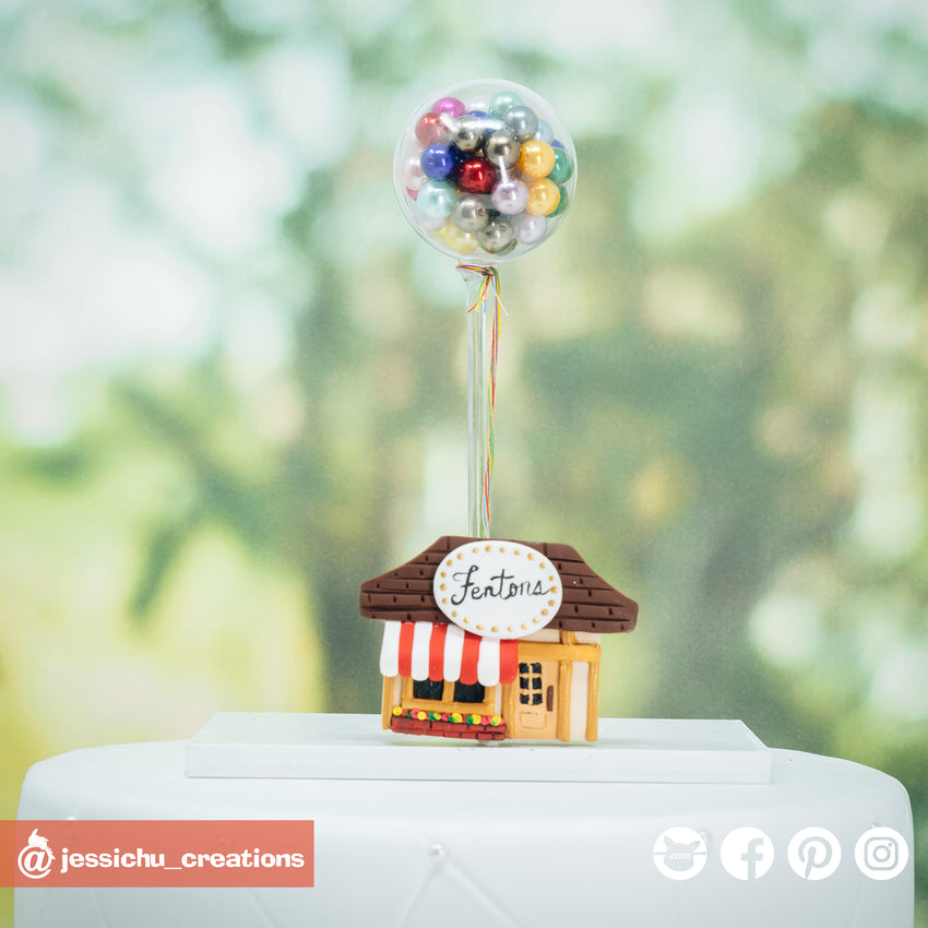 Pixar UP Penton's Ice Cream Parlor & UP Balloons | Accessories | Custom Handmade Wedding Cake Topper Figurines | Jessichu Creations