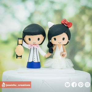 Wrestling Groom & Hello Kitty Bride | Custom Handmade Wedding Cake Topper Figurines | Jessichu Creations