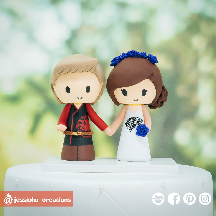 GOT Targaryen Groom & Stark Bride with Dragon Eggs Inspired Game of Thrones Wedding Cake Topper | Wedding Cake Toppers | Cake Topper Gallery | Jessichu Creations