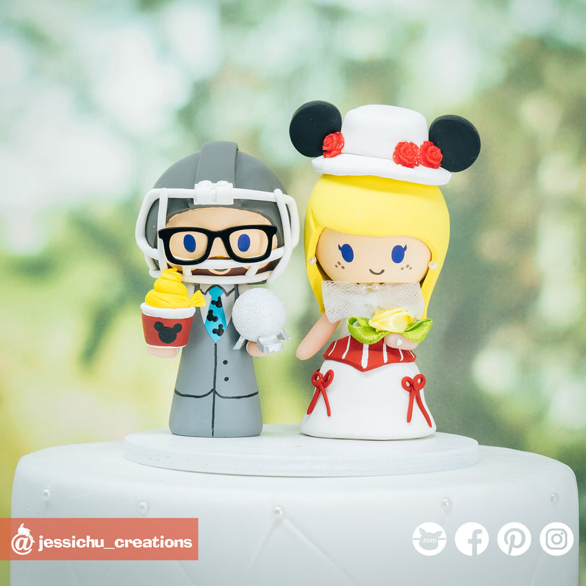 Dallas Cowboys & Mary Poppins | Disney | Custom Handmade Wedding Cake Topper Figurines | Jessichu Creations