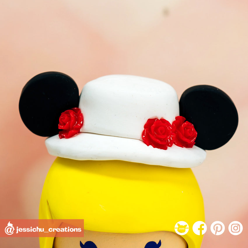 Mary Poppins Mickey Hat | Disney | Custom Handmade Wedding Cake Topper Figurines | Jessichu Creations