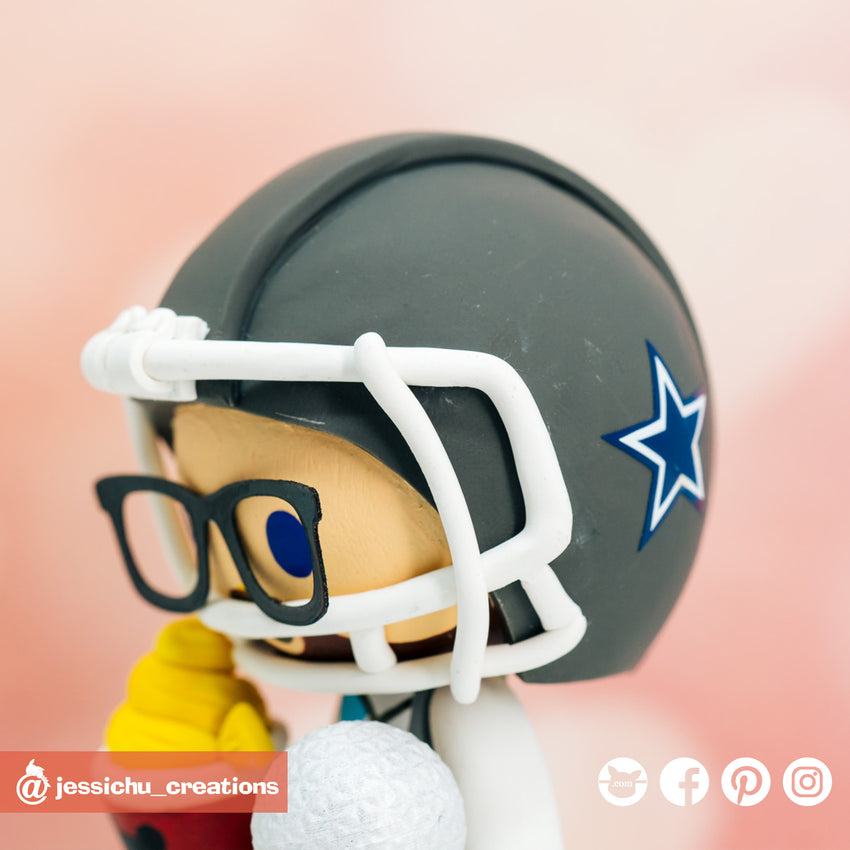 Dallas Cowboys | Custom Handmade Wedding Cake Topper Figurines | Jessichu Creations