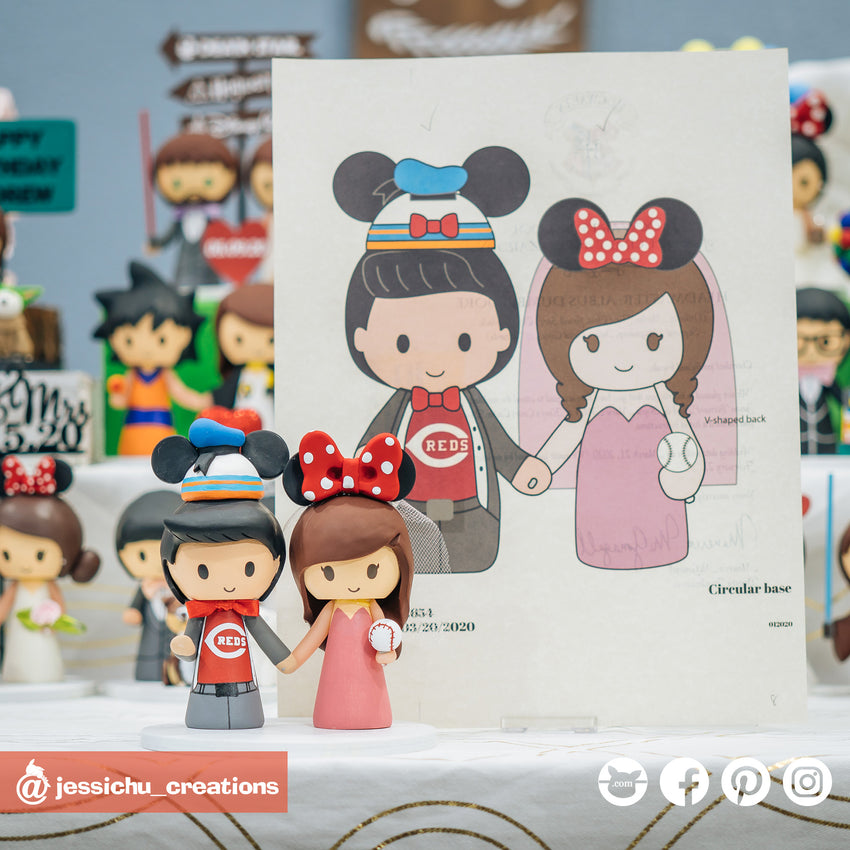 Cincinnati Reds Baseball Bride and Groom with Donald Mickey Hat & Minnie Ears | MLB x Disney | Custom Handmade Wedding Cake Topper Figurines | Jessichu Creations