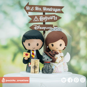 Harry Potter Gryffindor Groom & Mermaid Bride with HP Inspired Accessories Wedding Cake Topper | Wedding Cake Toppers | Cake Topper Gallery | Jessichu Creations